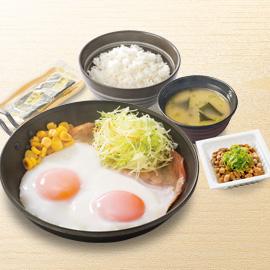 Wハムエッグ納豆定食