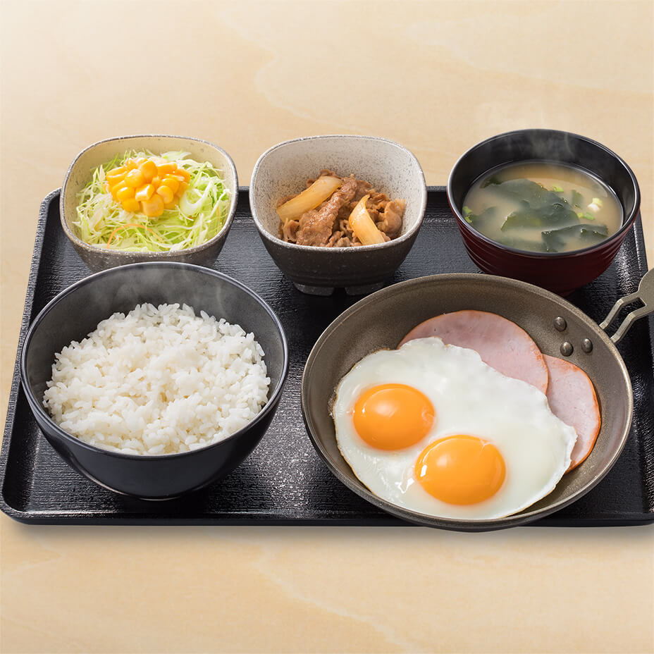 Wハムエッグ牛小鉢定食