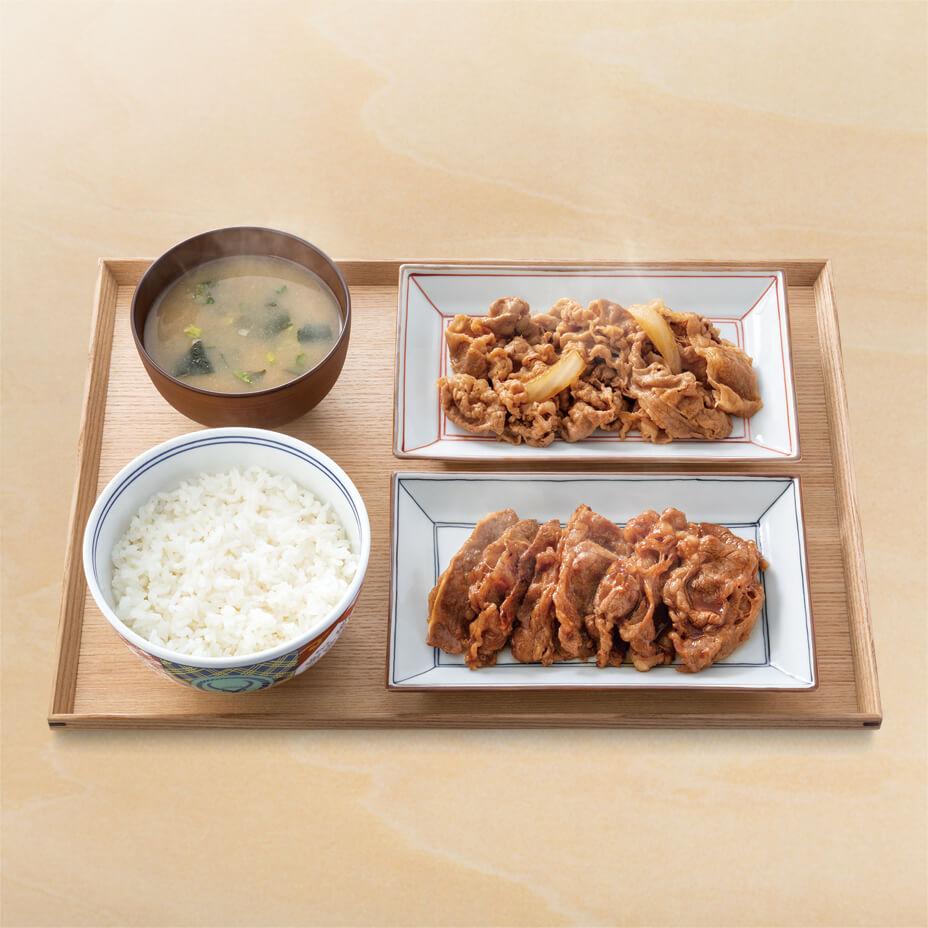 牛皿・牛カルビ生姜焼き定食