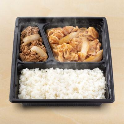 W弁当(牛皿・豚生姜焼き)