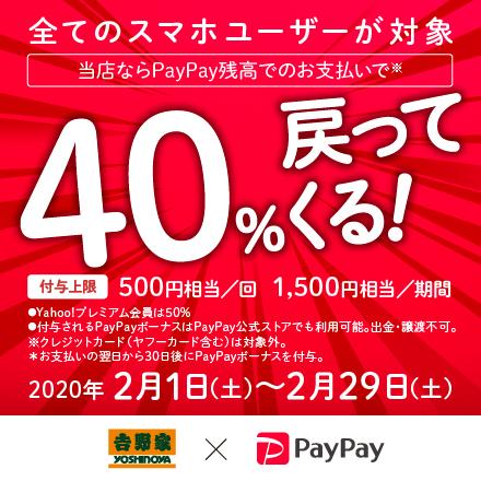 【2月29日まで】PayPay残高でのお支払いで、40%戻ってくる!