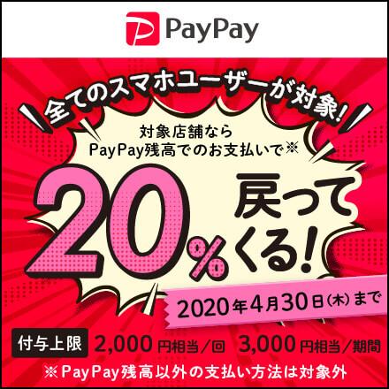 【4月30日まで】PayPay残高でのお支払いで、20%戻ってくる!