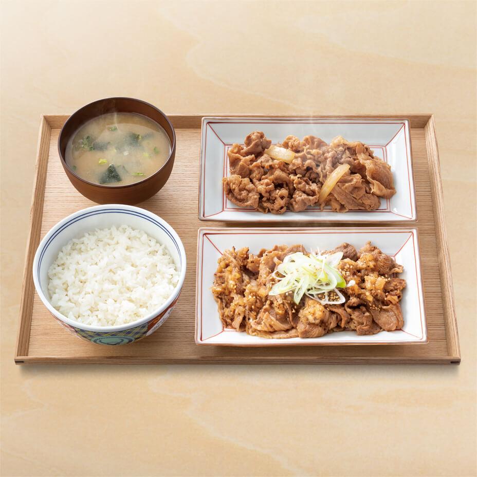 牛皿・ねぎ塩牛カルビ定食