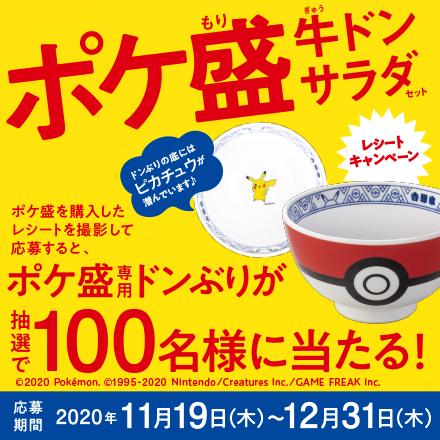 【11月19日~12月31日】ポケ盛専用ドンぶりが抽選で100名様に当たる!レシートキャンペーン!