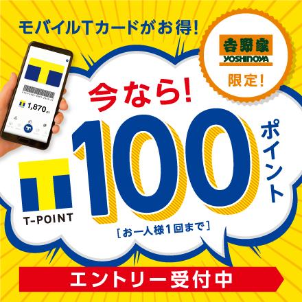 【3月1日~3月31日】モバイルTカードがお得!今ならお会計時のモバイルTカードご提示で100ポイント!(お一人様1回まで)